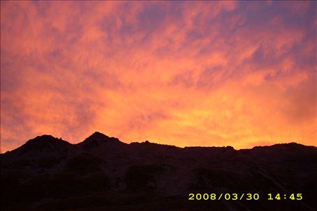 sunset in an alpine area
