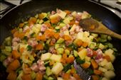 Cooking vegetables, cheese and bacon for the filling of the pie: by elenamantovan, Views[110]