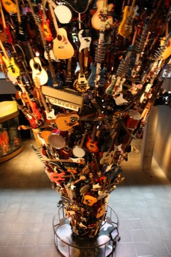 A sculpture of instruments from the Experience Music Project. They actually play themselves.