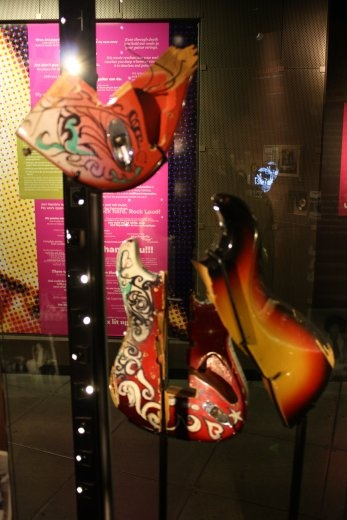 Some of what were once Jimmy Hendrix's guitars. They had his Woodstock one there too. Seattle is hard on guitars.