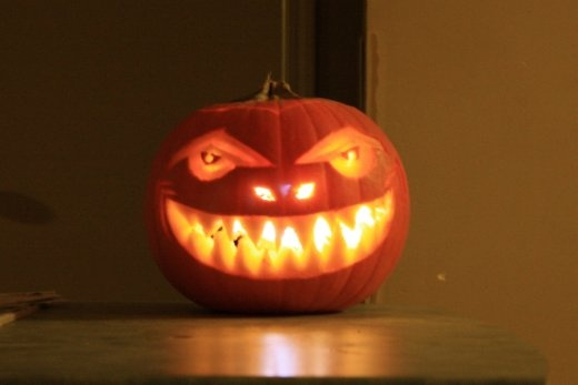 Bron's super cool, competition winning pumpkin, lit up with a headtorch (we're not allowed to use candles).