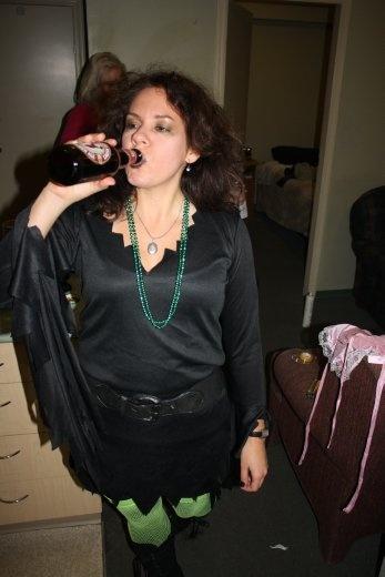 Halloween preparation photos. Bron was a witch.