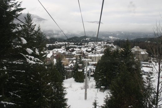 View back to Whistler village from the Whistler gondola