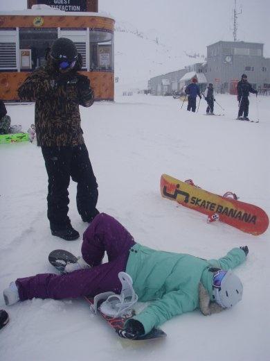 Amanda learning to snowboard. Tough gig.