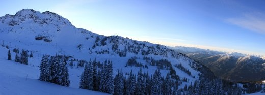A panorama of Whistler and Bagel bowls in the afternoon