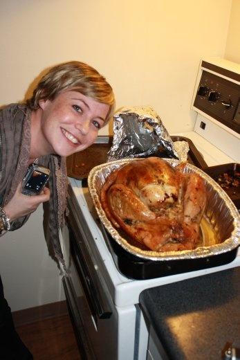 Nat posing with Amanda's delicious turkey. Thanks Amanda!