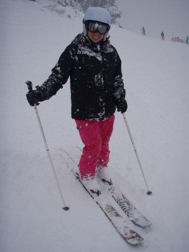 Bron on powder skis