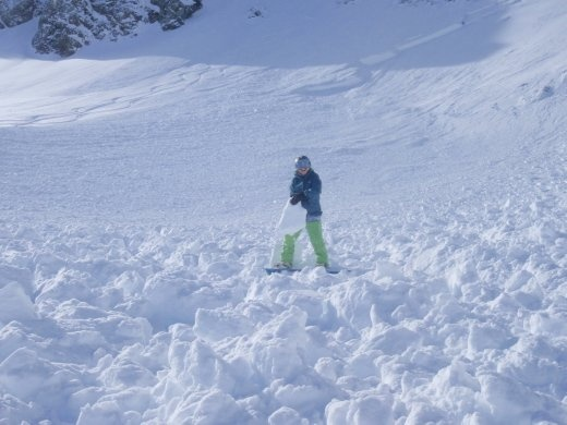 Big chunks of avalanche debris - the powder was more fun to ride in