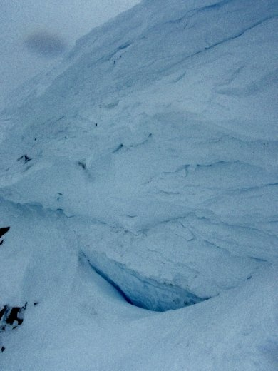 A big cornice at the entrance to The Cirque, off Whistler Peak