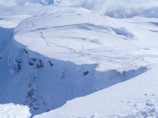 Cliffs around the Couloir at Whistler Peak