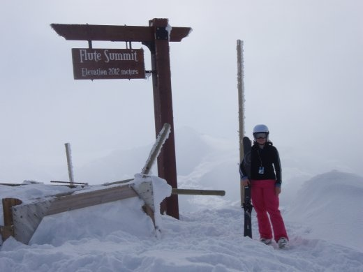 Bron at Flute summit. Wasn't a happy camper, until she hit the snow. Then happy again.