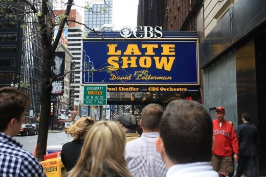 In queue for the Late Show with Dave Letterman - got free tickets in Time Square and got to see Ricky Gervais and the Foo Fighters. Massive bargain.