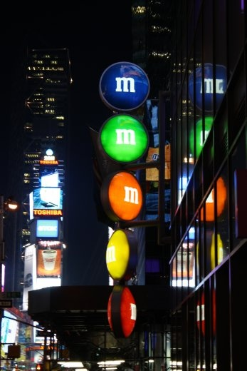In Times Square there is an M&M shop.