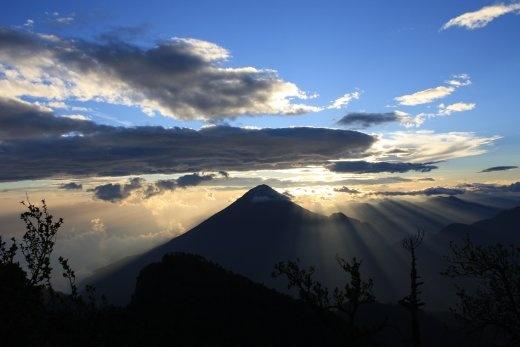Sun setting over Volcan Santa Maria