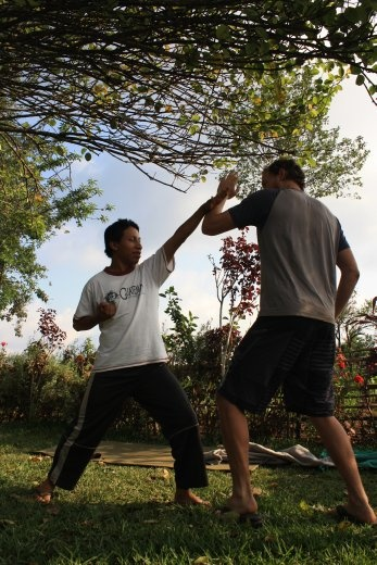 Our guide Angel teaching some karate