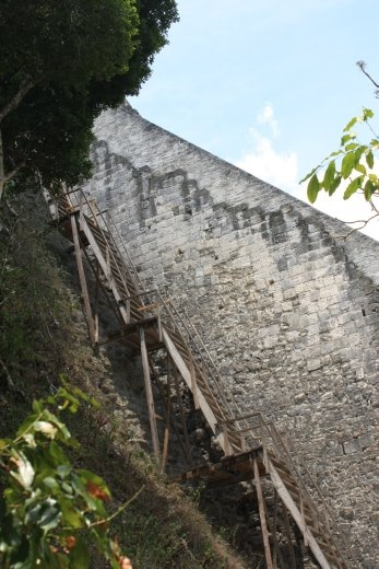 The stairs up Temple 4 - they are as steep as they look