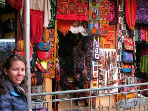 Bron at the Witches Market in La Paz - loads of excellent alpaca and llama based textiles