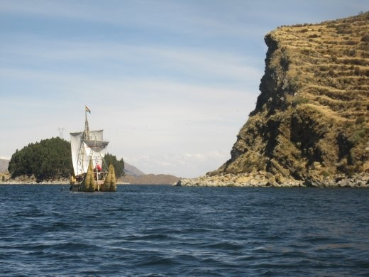 Lake Titicaca again: reed sailing ships