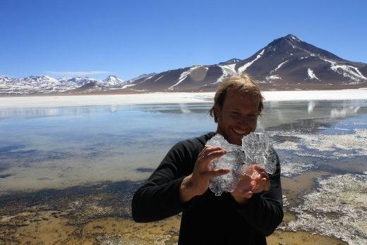 Delicious ice en route to Uyuni