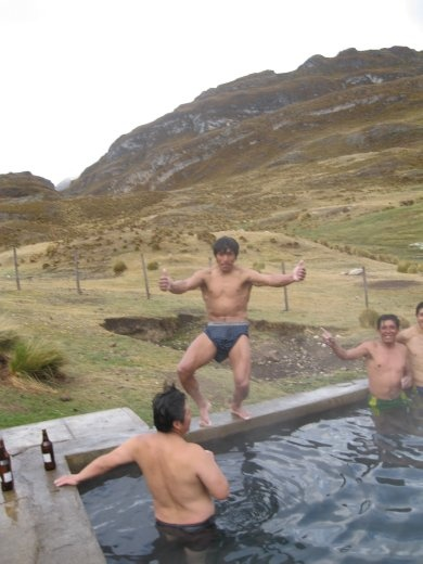 What are you doing, crazy local drunk guy. Great fun in the hotsprings, we could even wash our hair!