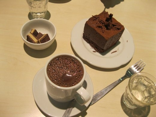Bron's dream chocolate trifecta - hot chocolate, chocolate and chocolate mousse