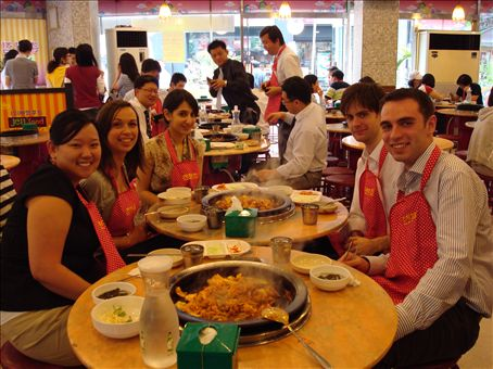 Me, Claire, Zahra, Terry, and Eamonn at our first authentic Korean restaurant during YBM training.