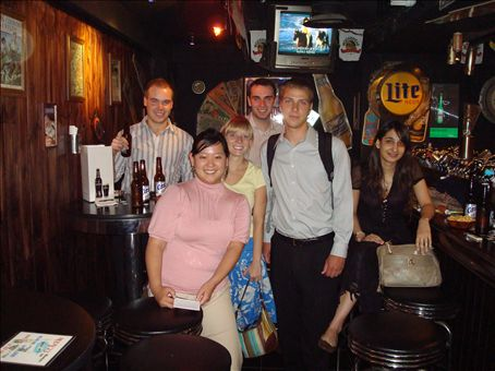 Moss, Me, Brittany, Eamonn, Alex, and Zahra at the Western bar.  This is the same picture that is posted on the wall!