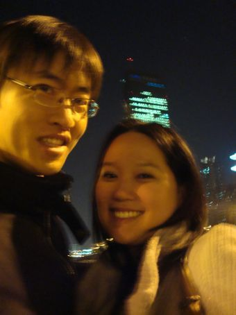 Me and my language exchange partner, Chang Gyu, in front of 63 Building.