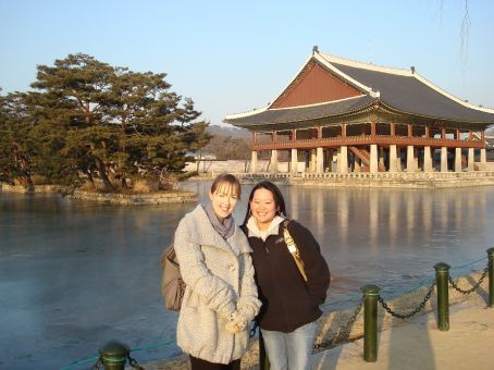 Priscilla and I on the  Gyeongbokgung Palace grounds.