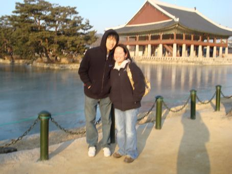Chang Gyu and I at Gyeongbokgung Palace.  He was our unofficial tour guide...  Well, we kind of followed a Korean tour and he tried to translate for us, haha!
