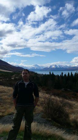 Em over Lake Pukaki, looking back at Mt Cook