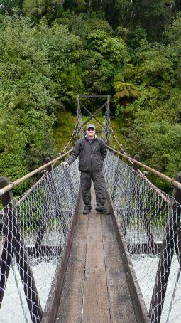 Andy on a VERY rocky bridge
