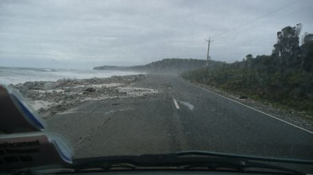 This is the main highway to Fox & Franz Josef Glaciers, they have a Bulldozer there to clear the road after each high tide.
