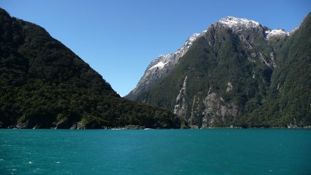 Looking back into Milford Sound from the Tasman sea.