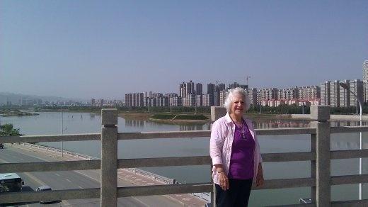 Ebeth on bridge over Wei (?) River