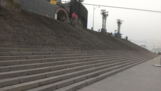 Steps leading up from the river, Chongqing, China