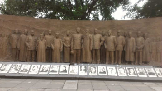 CCP Leaders, stone carving at Hongyan Revolutionary Memorial Museum, Chongqing, China