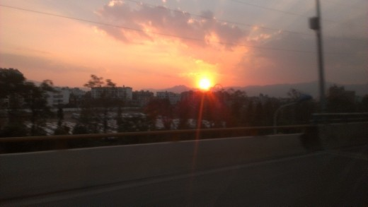 Sunset over Kunming on our way to the hotel