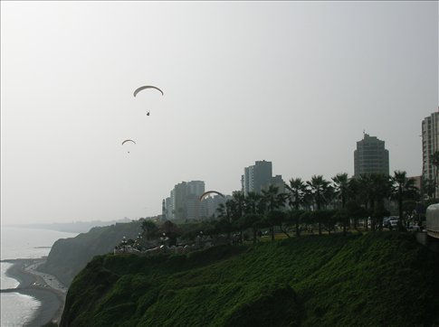 Paragliding off the cliffs in Miraflores
