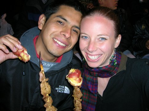 I´m couch surfing with Darcy in Cusco. He´s pretty awesome. We´re eating anticuchos at my first Peruvian soccer game!