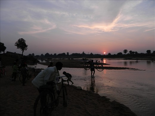 after ceremony 'Bada khani' people are crossing river to return home.