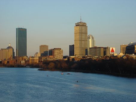 Hancock, Prudential, and Citgo sign from the BU bridge over the Charles River