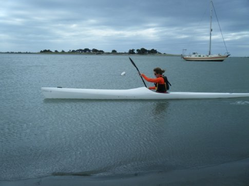 Emma testing out the Sharp 6 in the Christchurch harbor
