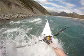 Martin splashing through the rock garden rapids, courtesy of his helmet cam : by emma-o-scott, Views[288]