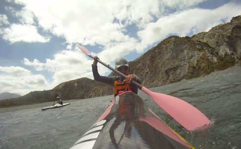 Elina (with Emma in the background) paddling through the Gorge (helmet cam glued to kayak !)