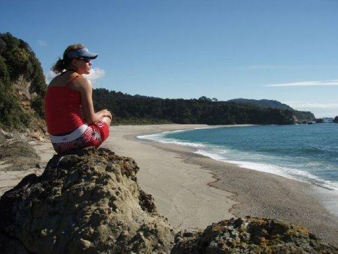 Admiring the views of the Tasman Sea on the West Coast