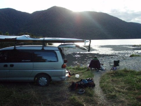 Lakeside campsite near Fox Glacier