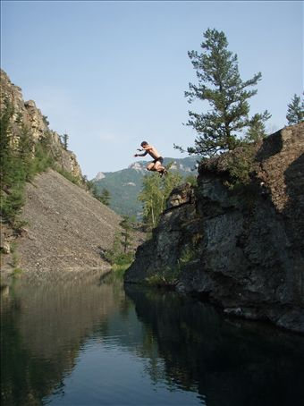 Scott jumping from the 30 feet jump at the Silver Springs Lake