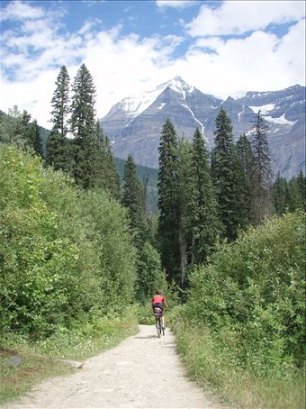 Fun single track up to Mt Robson, the biggest mountain in the Canadian Rockies