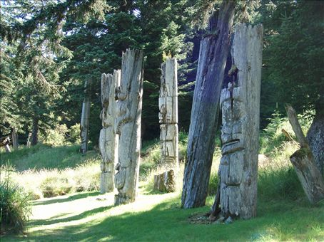 Totempoles on SGang Gwaay village site